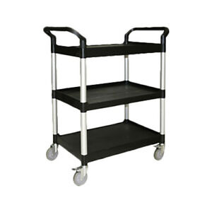 Thunder Group 40 1 2 X 19 3 4 X 37 7 8 3 Tier Black Plastic Bus Cart