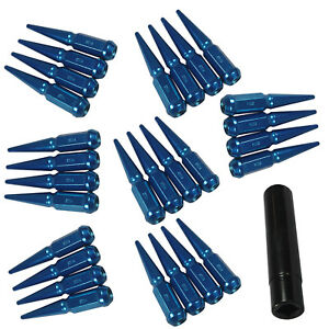 M14x1 5 4 5 Tall Blue Spike Lug Nuts 24pc For 6 Lug Gmc Chevy Ford Vehicles