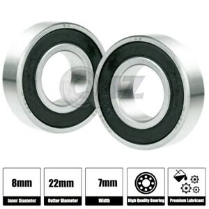 2x Ss 608 2rs Ball Bearing Roller Skate Board Long Board Inline Stainless Steel