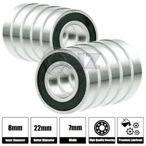 10x Ss 608 2rs Ball Bearing Roller Skate Board Long Board Inline Stainless Steel