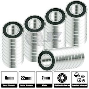 50x Ss 608 2rs Ball Bearing Roller Skate Board Long Board Inline Stainless Steel