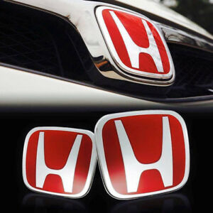 1pairs For Honda Civic 06 15 Sedan Red H Front And Rear Emblem Badge Logo