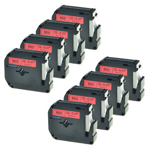 8 Pk Us Stock Black On Red Label Tape For Brother P touch Mk431 M k431 1 2 12mm