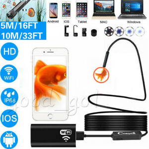 5 10m 1200p Rigid Wifi Endoscope Camera Hd 8mm Borescope For Android Iphone Ios