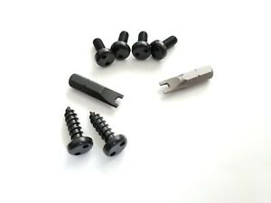 Black 4 Security Bolts 2 Secure Screws Bits For Bmw Rear License Plate Bracket