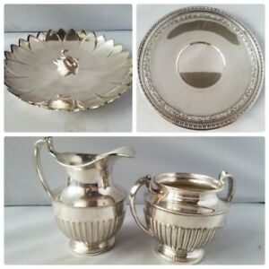 Reed Barton Crescent Mfg Vintage Silver Lot Tray Dish Creamer Sugar Tea Set