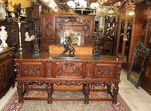 Exquisite Berkey Gay Renaissance Inlaid Carved Mahogany Sideboard Buffet