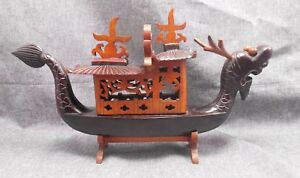 Vintage Carved Wood Dragon Ship Boat Wood Ornate Detail With Stand