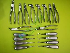 Extracting Forceps Elevators Extraction Set Of 18 Pcs Dental Instruments