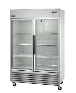 Arctic Air Agr49 49cuft Double Glass Door Reach in Refrigerator