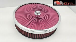 14x3 Superflow Washable Air Cleaner Filter Flat Base Holley Edelbrock Chrome