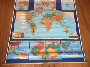 Cram Astro Vue Political Physical World Us 2 Layer School Pull Down Map 64 X66