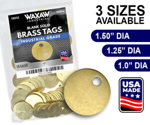 Waxaw Round Solid Blank Brass Id Tags Pets Keys Tools Valves 1 1 1 4 1 1 2