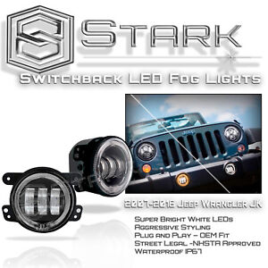30w Cree 4 In Led Fog Lights Halo Switchback White Amber Jeep Wrangler 07 17