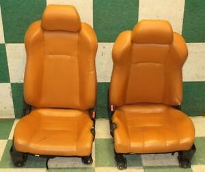 05 06 350z Coupe Left Right Power Tracks Orange Leather Bucket Heat Seat Hotrod