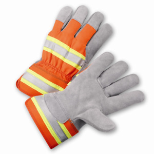 1 Dozen High Visibility Split Cowhide Leather Work Gloves Hi Vis Sizes Small xl