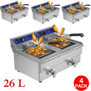 4x 26l Commercial Deep Fryer W Timer And Drain Fast Food French Frys Electric C