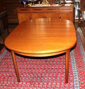Mid Century Teak Wood Round Extending Dining Room Table Expandable Furniture