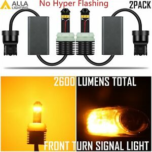 Allalighting 7440 Led Front Turn Signal Light Bulb Yellow no Hyper fast Flashing