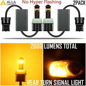 Alla Lighting 7440 Led Rear Turn Signal Light Lamp Yellow Bulb no Hyper Flashing