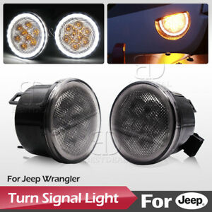 4 Led Turn Signal Replacement Light With Halo Angel Eyes For Jeep Wrangler Jk