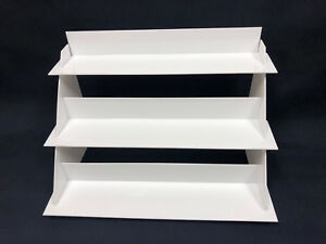 Laser Cut White Acrylic Riser Display Shelf For Table Or Counter Tops