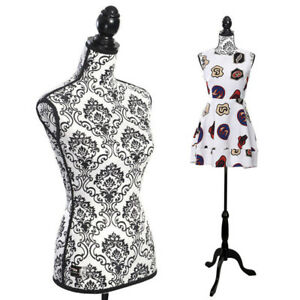 Female Mannequin Torso Dress Clothing Form Display Tripod Stand Decorative Patte