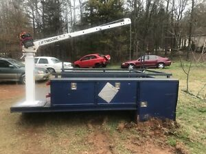 H h Utility Truck Bed W Crane And 12 500 Lbs Winch