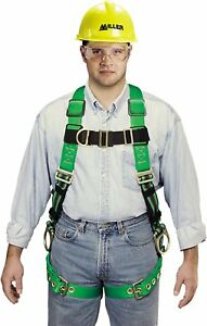 Miller Python Full Body Ultra Safety Harness Front Side D Ring Green Small Med