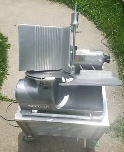 Hobart 1612 Manual Commercial Meat Slicer W cart used Working