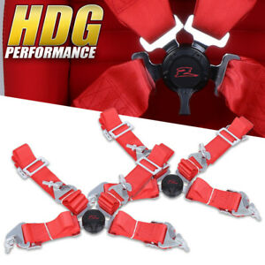 Upgrade 4 Point Red Safety Seat Belt Harness Camlock Center Pair 2 Universal