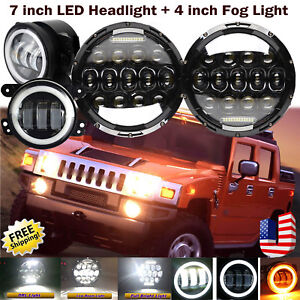 2x 7 Inch Led Round Headlight 2x 4 30w Driving Fog Lamp Kit For Hummer H2
