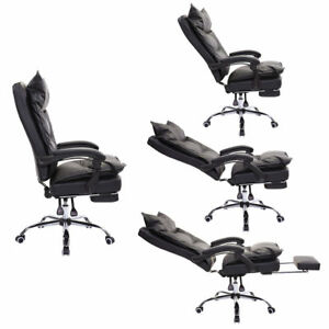 Executive Reclining Office Ergonomic Chair High Back Footrest Leather Armchair