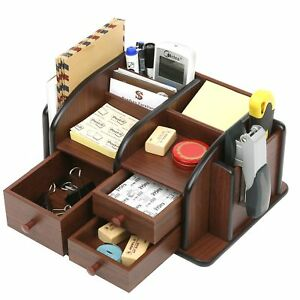 Mygift Wood Office Supplies Organizer With 3 Drawers Desktop Mail Holder Brown