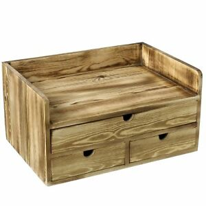 Torched Wood Desktop Document File Holder Cabinet With 3 Drawer Office Supplies