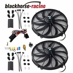 2x 16 Electric Radiator Fan 3000 Cfm Black Thermostat Wiring Switch Relay Kits