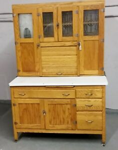 Oak Hoosier Cabinet With Flour Bin Antique Kitchen Cupboard Nice