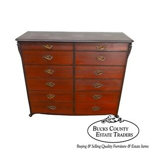 Antique American Mahogany Unusual Art Nouveau Influenced 12 Drawer Tall