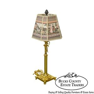 Quality Brass Candlestick Lamp W Shade