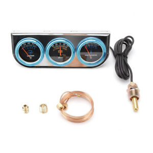 2 Car Auto Suv Triple Gauge Kit Volt Meter Water Temp Oil Pressure Meter 52mm