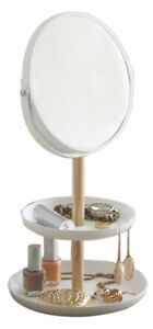 Mirrored Jewelry Accessories Organizer Stand With Tray In White Finish 11 5 h