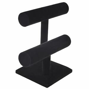 2 tier Black Velvet T bar Bracelet Watch jewelry Stand Display