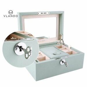 Vlando Retro Lockable Jewelry Box Organizer W Large Mirror Key Gifts For Women