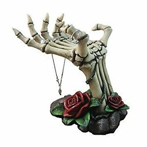 Spooky Skeleton Hands Jewelry Stand With Tray Display Rack And Red Roses Or