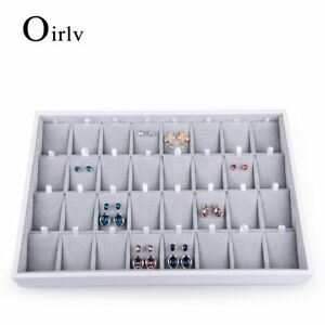 Oirlv Velvet Stackable Jewelry Tray 32 Grids Earrings Organizer Display Showcase