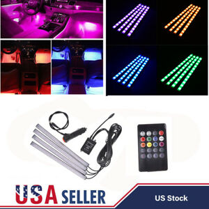 4x 12 Led Rgb Car Interior Floor Neon Light Strip Atmosphere Lamp Remote Control