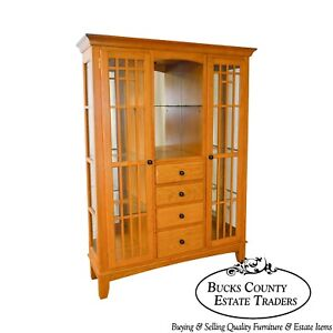 Mission Oak Arts Crafts Style Curio Display Cabinet Etagere