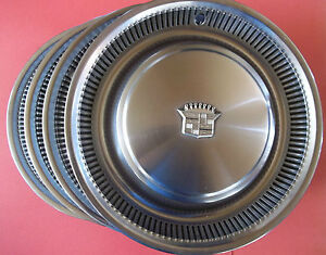 1974 1975 1976 Cadillac Deville Lot Of 4 Hub Caps Wheel Covers 15 Inch Made D