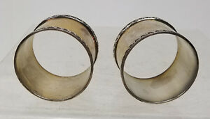 Antique Vintage Silver Plate Napkin Rings Wave Design Pair Mcm