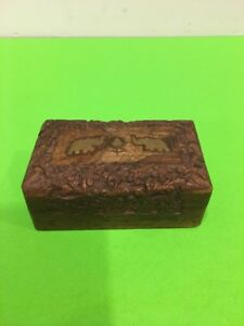 Vintage Hand Carved Wooden Jewelry Trinkets Box Brass Elephant Inlay From India